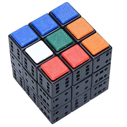 Faironly 3 x 3 x 3 DIY Bandage Cube Black Magic Cube with 72 pcs Plastic Color Stickers Brain Teaser Puzzle Cube for Magic Cube Lovers
