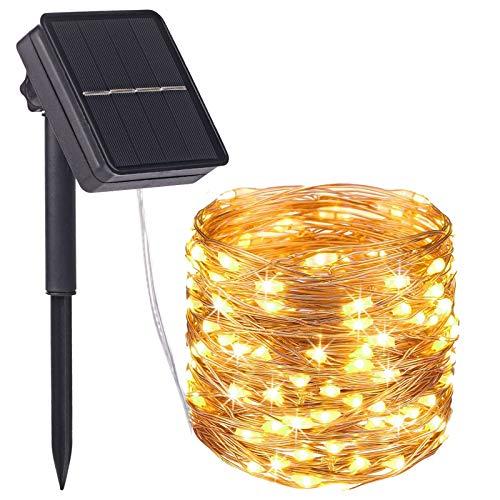 Yizhet Guirnaldas Luces Exterior Solar,24 M 240 LED Cadena de Luces Solares,8 Modos Guirnaldas Luminosas Solar Impermeable Decoración para Navidad, Fiestas, Bodas, Jardines(Blanco Cálido)