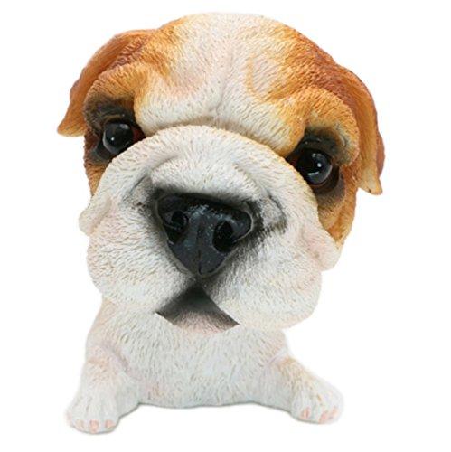 OZUKO Mini Bobble Head Bulldog Dog Figurine Toys Home Car Dashboard Ornament Statues