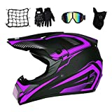 MRDEAR Casco Motocross Hombre, Casco de Cross Adulto Protecciones Motocross con Gafas Máscara Guantes Red Elástica Casco Enduro para Descenso MX Quad Off Road ATV Scooter, Negro y Morado,M