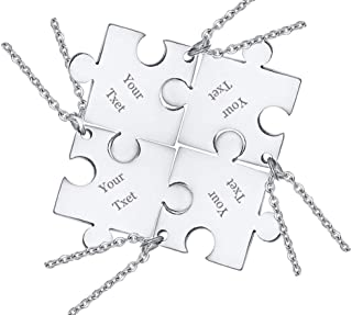 Personalized Custom Stainless Steel Small Puzzle Piece Necklace Matching Best Friend Friendship Necklace