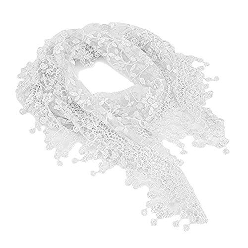 TININNA Doux Respecte la Peau du Cou en Tassel Lace Sheer Burntout Imprimé Floral Triangle Echarpe Mignon pour Les Femmes Fille Blanc