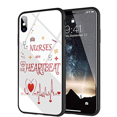 iPhone 5 Funda, iPhone 5s Funda, iPhone SE Funda, Cubierta Trasera de Vidrio Templado, Silicona Suave, Compatible con iPhone 5/5s/SE AMA-55 Nurse Dentist