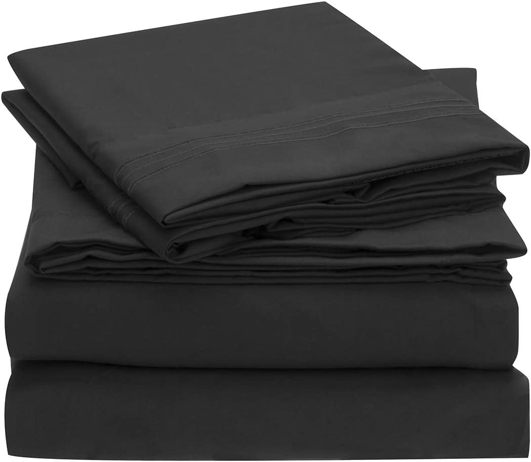 Mellanni Extra Deep Pocket Twin XL Sheet Set - Luxury 1800 Bedding Sheets & Pillowcases - Fits College Dorm Room Mattress up to 21