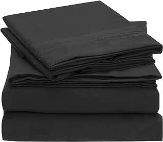 Mellanni Sheet Set-Brushed Microfiber 1800 Bedding-Wrinkle Fade, Stain Resistant - Hypoallergenic - 4 Piece (King, Black),
