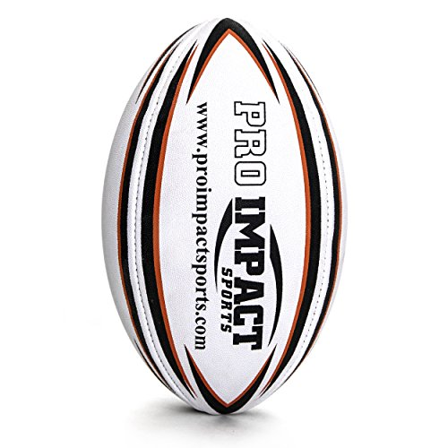 Pro Impact Training Rugby Ball - Professional Grade Ball - Ideal Toss & Kick Practice for Youth & Adult - Indoor or Outdoor Use (White, Size 3)
