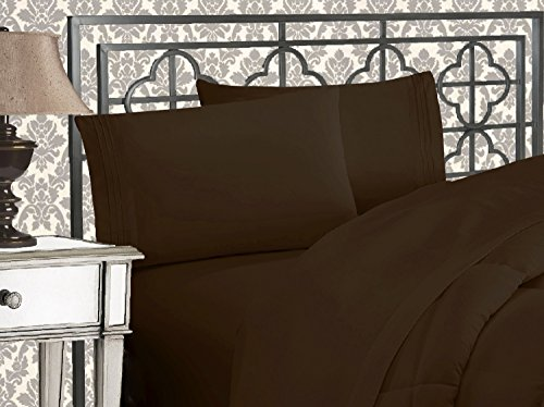 Elegant Comfort 81RW-3Line-Q-Chocol Luxurious 1500 Thread Count Egyptian Three Line Embroidered Softest Premium Hotel Quality 4-Piece Bed Sheet Set, Wrinkle and Fade Resistant, Queen, Chocolate Brown