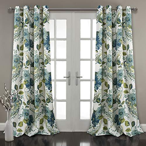 "Lush Decor Floral Paisley Window Curtain Panel (Set of 2), 84"" x 52"" Pair, Blue"