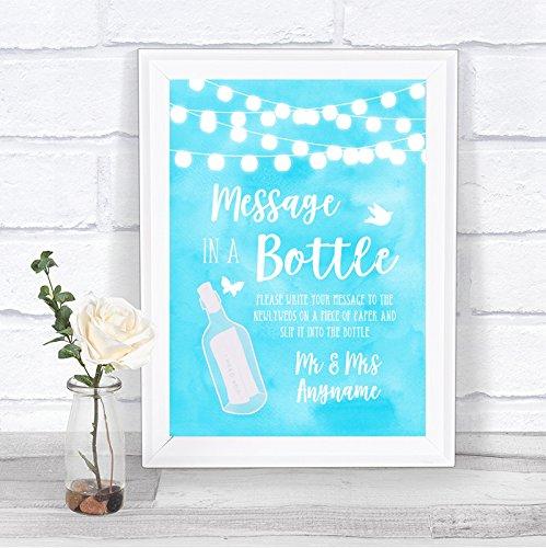 Aqua Sky blauwe aquarel licht bericht in een fles gepersonaliseerde bruiloft teken afdrukken Framed Black Small