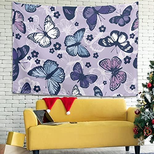 Tapiz para colgar en la pared, diseño de flores de mariposas, moderno, para colgar en la pared, para dormitorio, sala de estar, como toalla de playa, colcha blanca de 200 x 150 cm