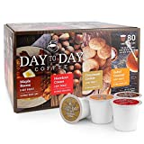 Day To Day Coffee Pods, Compatible with Keurig 2.0 Brewers, Box of 80 Count Variety Pack Flavored of Maple Bacon, Hazelnut Creme, Cinnamon Cookie, Salted Caramel Single Serve Pods