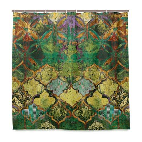 DYCBNESS Duschvorhang,Textilgewebe Mehrfarbig Digital,Vorhang Waschbar Langhaltig Hochwertig Bad Vorhang Polyester Stoff Wasserdichtes Design,mit Haken 180x180cm