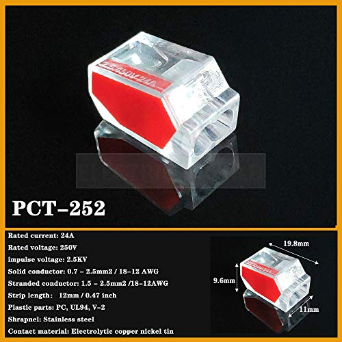 Conectores de alambre PCT-102 PCT-106 PCT-108 PCT-602 Empuje en Cable de cableado Conector de cable de cableado Cable Conductor PCT Conexión de luz PCT-252 20pcs