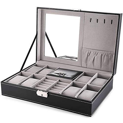 YOTH Joyero, con organizador de relojes de 8 ranuras, caja de almacenamiento con cerradura y espejo, negro