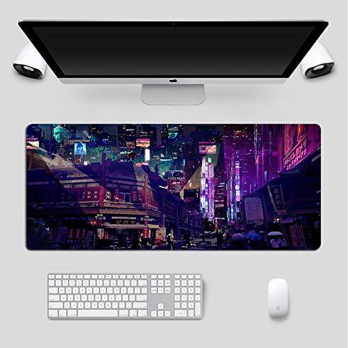 Alfombrilla de ratón para Juegos con Vista Nocturna de la Ciudad bulliciosa RGB,Alfombrilla de ratón LED-14 Modos de luz para Juegos de Ordenador portátil y PC -Lockedge 500x1000mm