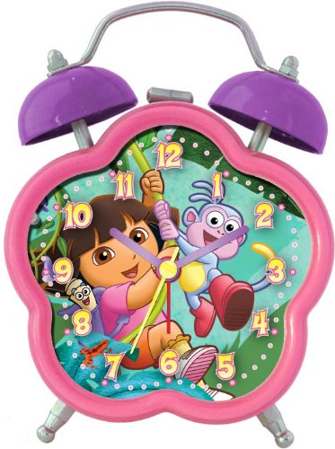 Nickelodeon Dora the Explorer DEC196 Quartz Analog Alarm Clock (Pink/Purple)