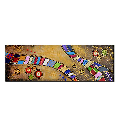 Abstracta Colorida Pintada a Mano Pintura al óleo Creativa Lienzo Arte Pintura Sala de Estar Dormitorio Casa Pared Decoración Pintura,Noframe,40x120cm