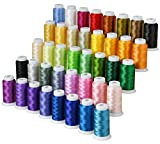 40 Colors Polyester Embroidery Machine Thread Kit - Compatible with Brother Colors 40 wt - Works with Brother Babylock Janome Singer Pfaff Husqvarna Bernina Embroidery and Sewing Machines 550Y