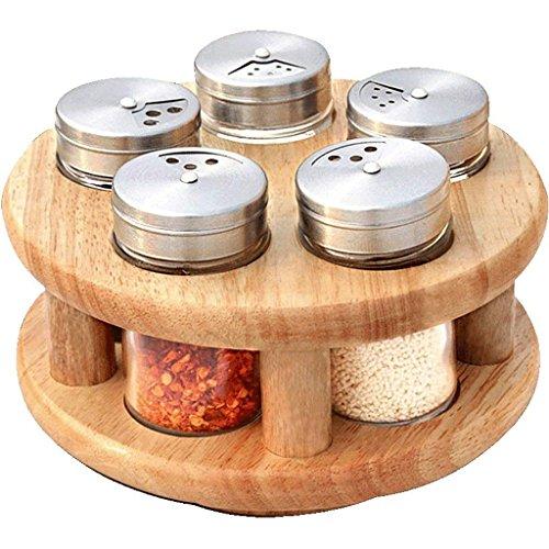 LHQ-HQ Sombrero Europea Rotary Especias Tarro de condimentos Botellas Conjunto Sal del Tanque de Aceite pote del condimento Creative Box Set Combinación Tarro de Especias