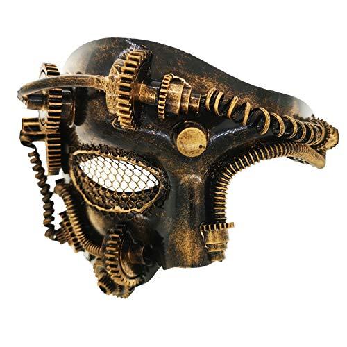 Ubauta Steam Punk Phantom der Oper Vintage mechanische Männer venezianische Maske für Maskerade / Party / Ball Prom / Halloween / Karneval (Gold Punk Mesh Eye)