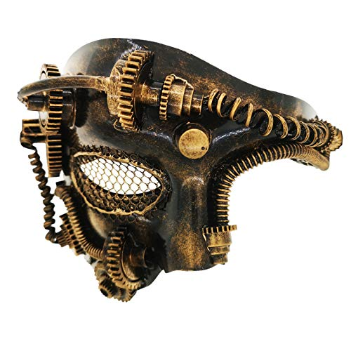 Ubauta Steam Punk Phantom der Oper Vintage mechanische Männer venezianische Maske für Maskerade / Party / Ball Prom / Halloween / Karneval (Gold Punk Mesh Eye)