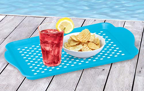 Oggi Rectangle Non Skid Rubber Grip Serving Tray, Aqua