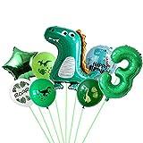 Conruich Globos de cumpleaños con forma de dinosaurio para 3 años, 3 años, decoración para fiestas de cumpleaños, globos gigantes con número 3, color verde, para fiestas de niños y niñas