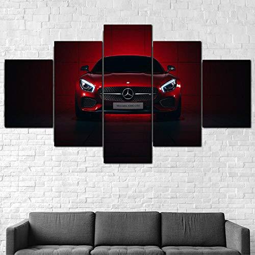 hgjfg Bilder 5 Teilig Leinwandbilder Leinwanddrucke XXL 5 Stücke Leinwand Mercedes AMG GTS Superauto Hd Drucke Kunstdruck Wandbilder Moderne Wohnzimmer Wohnkultu Poster 150X80cm