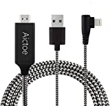 Compatible with iPhone iPad to HDMI Adapter Cable, Aictoe 6.6ft Digital AV Adapter Cord Support 1080P HDTV Compatible...