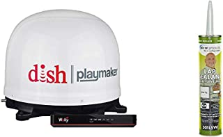 Winegard PL-7000R Dish Playmaker White Portable Antenna with Wally HD Satellite Receiver Bundle + Dicor 501LSW-1 Epdm Self...