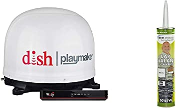 Winegard PL-7000R Dish Playmaker White Portable Antenna with Wally HD Satellite Receiver Bundle + Dicor 501LSW-1 Epdm Sel...