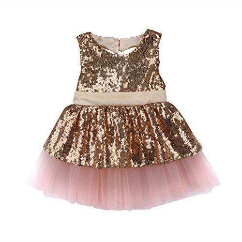 CAT1-RHD Prinzessin Kids Baby Mädchen Pailletten Kleid Party Brautkleid Abendkleider (12-18 Monate, Champagner)