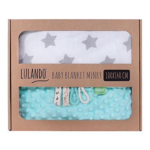 LULANDO Babydecke Kuscheldecke Krabbeldecke aus 100% Baumwolle (100x140 cm). Super weich und flauschig. Kuschelige Lieblingsdecke für Ihr Baby. Farbe: Mint - Grey Stars