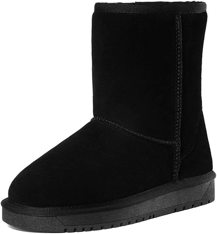 BalaMasa Womens Platform Round-Toe No-Closure Suede Boots