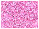 Miyuki 10g 11/0 Delica Rocailles - Cuentas de Semillas japonesas de 1.6 mm de diámetro con un Agujero de 0.8 mm, Crystal/Pink AB Lined (Transparent Crystal, Iridescent Pink Inside)