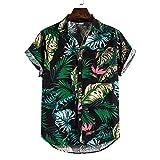 JJZSL Ropa De Algodón Para Hombre De Manga Corta Étnica Casual Impresión Suelta T Hawaiian Shirt Blusa Beachwear Hip Hop Buttons Camisas Ropa (Color : A, Size : M code)