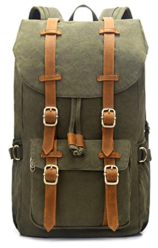 EverVanz Outdoor Canvas Backpack, Waterproof Travel Hiking Camping Rucksack Pack, Large Casual Daypack, College School Backpack, Shoulder Bags Fits 15' Laptop Tablets