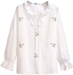 Elegant Woman Bow Tie White Shirt Autumn Fashion Female Flare Long Sleeve Shirt Office Lady Solid Color Korean Shirt
