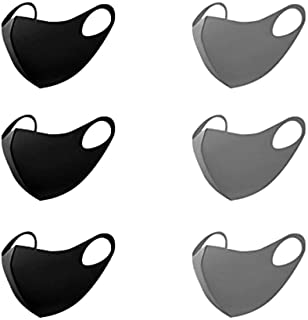 Tinawells 洗えるマスク 6枚セット 立体型 ファッションマスク 初秋に最適 洗える 在庫あり 吸汗速乾 繰り返し使える 個包装 ホコリ 花粉 紫外線対策 男女兼用 (ブラック&グレー)