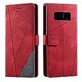 Hülle für Samsung Galaxy Note 8, SONWO Premium Leder PU Handyhülle Flip Hülle Wallet Silikon Bumper Schutzhülle Klapphülle für Galaxy Note 8, Rot