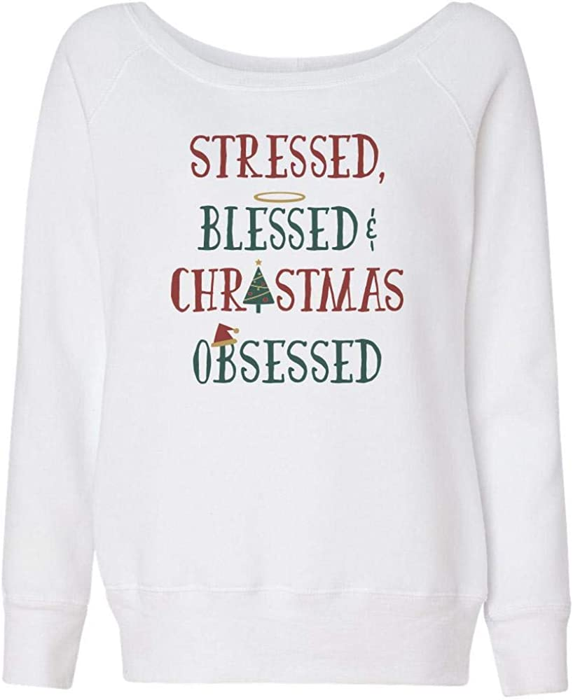 TeesAndTankYou Stressed Blessed and Christmas Max 89% OFF Wideneck Department store Obsessed