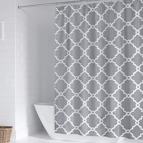 WELTRXE Moroccan Fabric Shower Curtain with Hooks, Waterproof Polyester Geometric Pattern Bathroom Curtains, Machine Washable, 72 x 72 inches, Gray