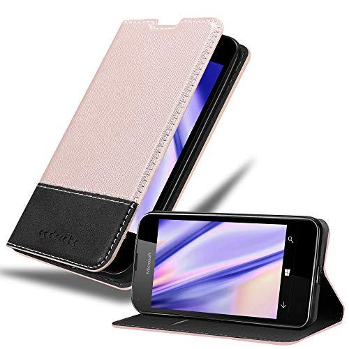 Cadorabo Hülle für Nokia Lumia 550 - Hülle in Rose Gold SCHWARZ – Handyhülle mit Standfunktion und Kartenfach aus Einer Kunstlederkombi - Case Cover Schutzhülle Etui Tasche Book