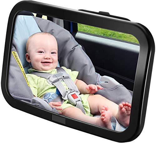 Specchietto Retrovisore Bambini, Specchio Auto Bambino, Specchietto Regolabile Neonato per Sicurezza Poggiatesta Posteriore Auto, Specchio Retrovisore Interno per Auto Sedile Posteriore, Nero