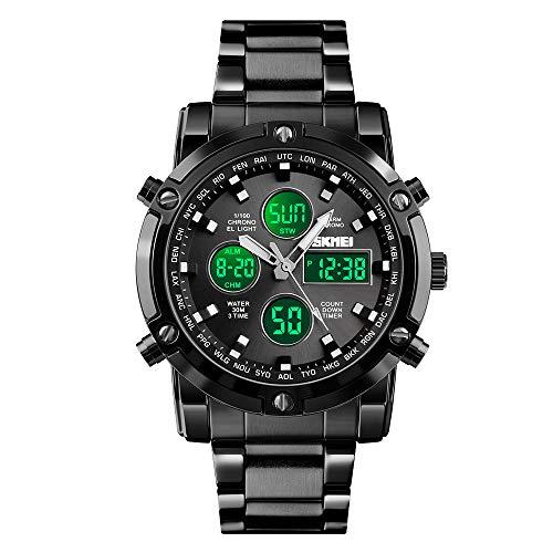 SKMEI - Reloj de pulsera para hombre, resistente al agua, analógico militar, con cronógrafo LED multihora, relojes de negocios de acero inoxidable para hombre