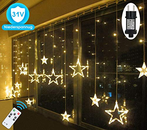 LED Lichterkette Sterne für Weihnachten Innen Fenster mit Timer Fernbedienung 31V Lichterketten Warmweiß 8 Modi Weihnachtsbeleuchtung Außen Dekoration IP44 Lichtervorhang 2,5Mx1M