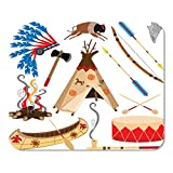 Mousepad Computer Notepad Büro Cowboy American Indian Clipart und White Teepee Pfeilspitze Trommel Home School Game Player Computer Worker Inch