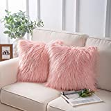 Phantoscope Set of 2 Decorative New Luxury Series Merino Style Pink Fur Throw Pillow Case Cushion Cover 18' x 18' 45cm x 45cm