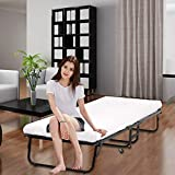 Folding Bed Frame with Wheel, Rollaway Bed with Mattress for Adults, Foldable Twin Bed with Thick Memory Foam Mattress for Spare Bedroom&Office, Camping Cot Portable Folding Bed for Adults&Kids 350LBS