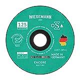 Discos de corte de seguridad 125 x 1,0 mm para metal Paquete de 5 I MADE IN GERMANY I Para amoladora angular de WIESEMANN 1893 I Para acero, acero inoxidable, Inox I OSA tested I 81604